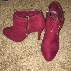 Maroon and gold booties